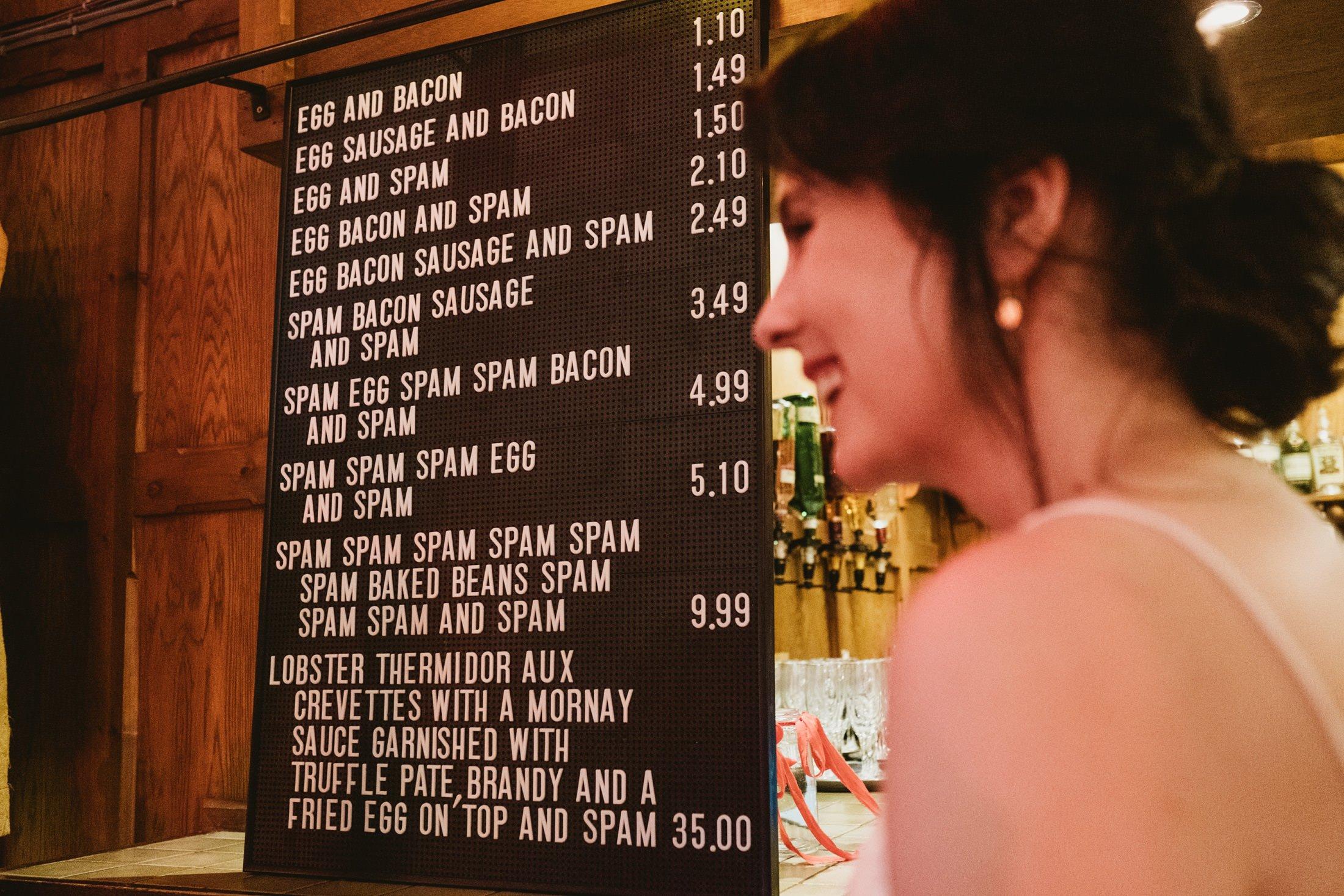 spam menu with bride