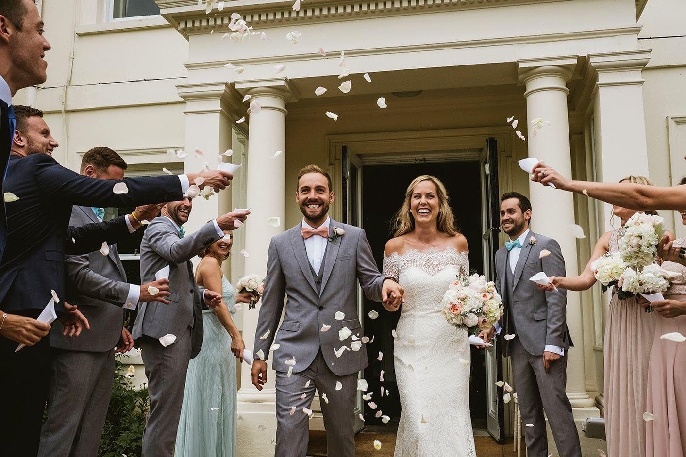 wedding confetti at Morden Hall in London
